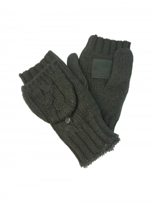 Adult Fingerless Gloves with Cover in Cable Knit