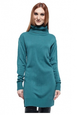Ladies Big Turtle Neck Ribbed Sweater Dress